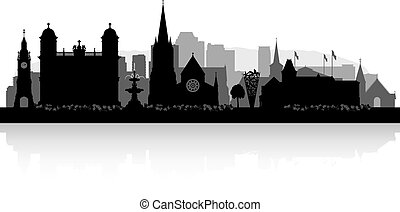Christchurch New Zealand city skyline silhouette - ...