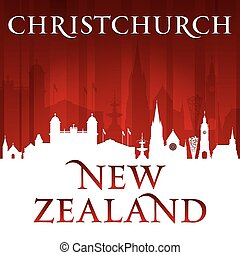 Christchurch New Zealand city skyline silhouette red background