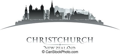 Christchurch New Zealand city skyline silhouette white...