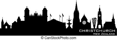 Christchurch New Zealand city skyline vector silhouette -...
