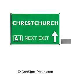 CHRISTCHURCH road sign isolated on white