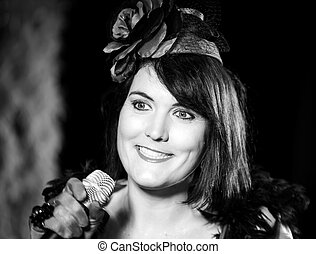 Christel Kern singing chanson. Portrait of french actress. Expressive concert repetition, Strasbourg, France.