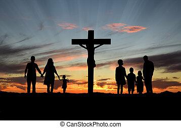christen, families, staand, voor, kruis, van, jesus