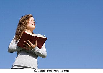 christen, geitje, op, bijbel, kamp, lezende , evangelie