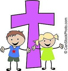christen, kinderen, kruis