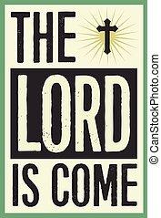 christen, ouderwetse , poster, heer, komen, kerstmis kaart