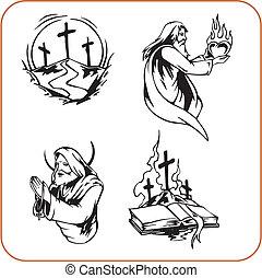 christen, symbolen, -, vector, illustration.