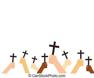 christen, vasthouden, -, vrijstaand, illustratie, kruis, vector, achtergrond, handen, witte