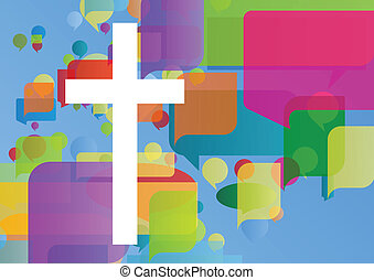 christendom, religie, kruis, mozaïek, concept, abstract,...