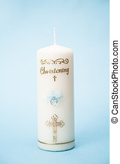 Christening candle for a boy with blue detail on blue ...