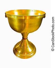 Christening golden ?hurch bowl isolated on white background
