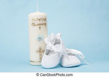 christening, vela, para, um, menino, com, w