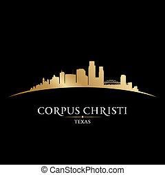 christi, 黒い背景, コーパス, 都市, シルエット, テキサス