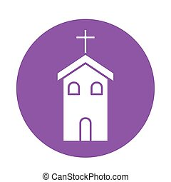 Christian and catholic church block style icon vector design