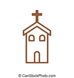 Christian and catholic church line style icon vector design