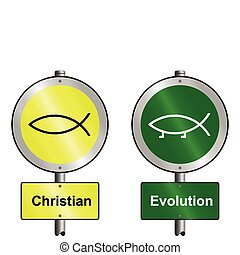 Christian and Evolution graphic and text signs mounted on...