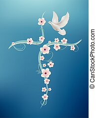 Christian baptism cross with flowers and dove on a blue background