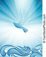 Christian baptism symbol with dove and waves of water on...