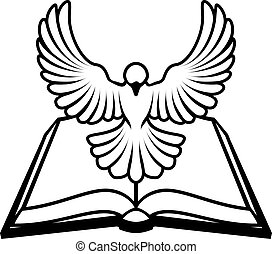 A Christian Bible dove concept, with a white dove representing the holy spirit flying out of the bible. Could refer to inerrant or inspired nature of the bible, or word of God coming to us through the bible.