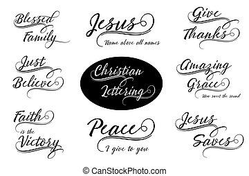 Christian Calligraphy Lettering Vector Set