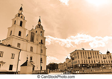 Christian cathedral in Minsk, Belarus. Sepia
