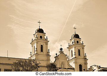 Christian cathedral in Minsk, Belarus . Sepia