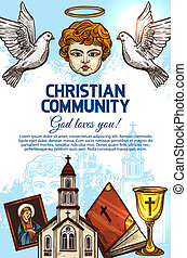 Christian catholic church, Bible, angel and icon - Christian...