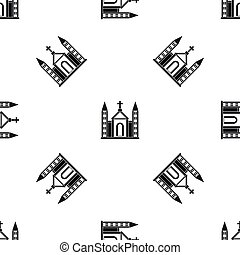 Christian catholic church building pattern seamless black