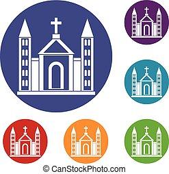 Christian catholic church building icons set
