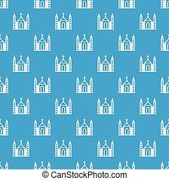 Christian catholic church building pattern seamless blue