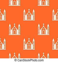 Christian catholic church building pattern seamless