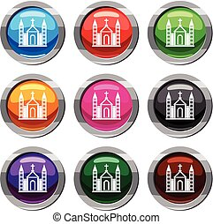 Christian catholic church building set 9 collection