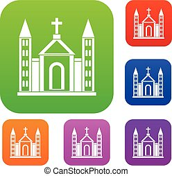 Christian catholic church building set collection