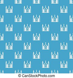 Christian catholic church building pattern seamless blue