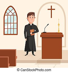 Christian catholic priest preaching at church. Holy father...