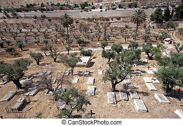 Christian cemetery on the Mount of Olives, in Jerusalem