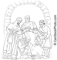 Christian Christmas Nativity Scene Coloring Page. Jesus, Mary, Joseph and the Three Kings