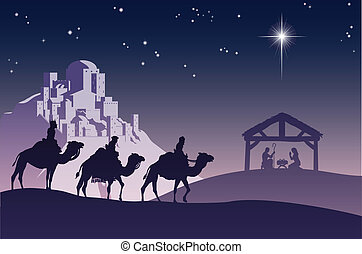 Christian Christmas Nativity Scene - Illustration of...