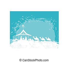 Christian Christmas nativity scene of baby Jesus in the...