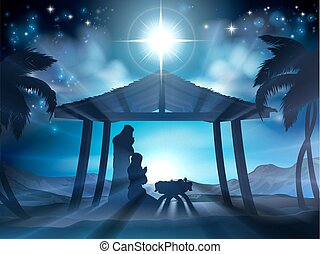 Christian Christmas Nativity Scene of baby Jesus in the manger with Mary and Joseph in silhouette and palm trees