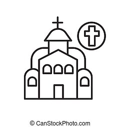 Christian church icon. linear pictogram of temple with catholic cross. Concept graphical element landmark building and touristic spot. Editable stroke vector illustration for maps and navigation