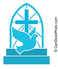 Christian church logo with flying dove, cross and stairs. Flat isolated vector icon symbol for hope, love an Jesus.