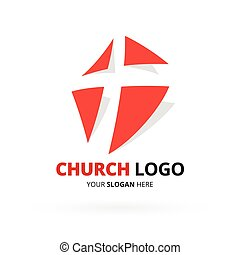 Christian church logo with red cross icon design. Vector illustration.
