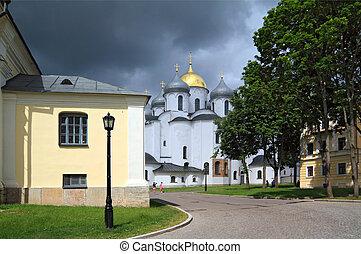 christian church on background cloudy sky