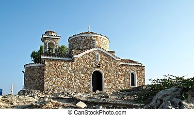 Christian church on the hill front view. Cyprus