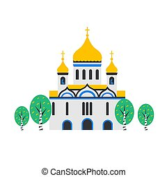 Christian Church. Orthodox church, the temple of Christ the Savior in Moscow, Russia. Flat Cartoon style chapel with cross, chapel, domes and birches. Catholic holy traditional symbol.