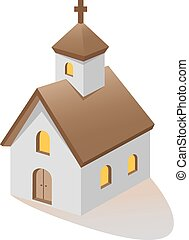 church - Christian church three quarter vector illustration