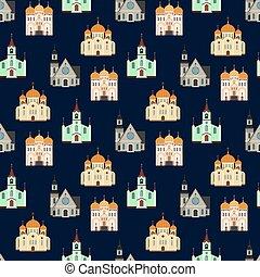 Christian churches seamless pattern. Church buildings background