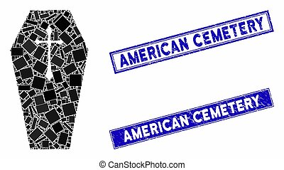Christian Coffin Mosaic and Grunge Rectangle Stamps