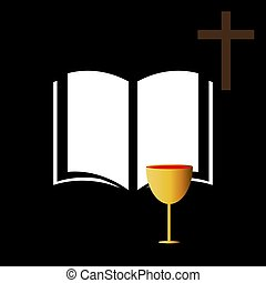 Christian communion with bible and wine, vector art illustration.